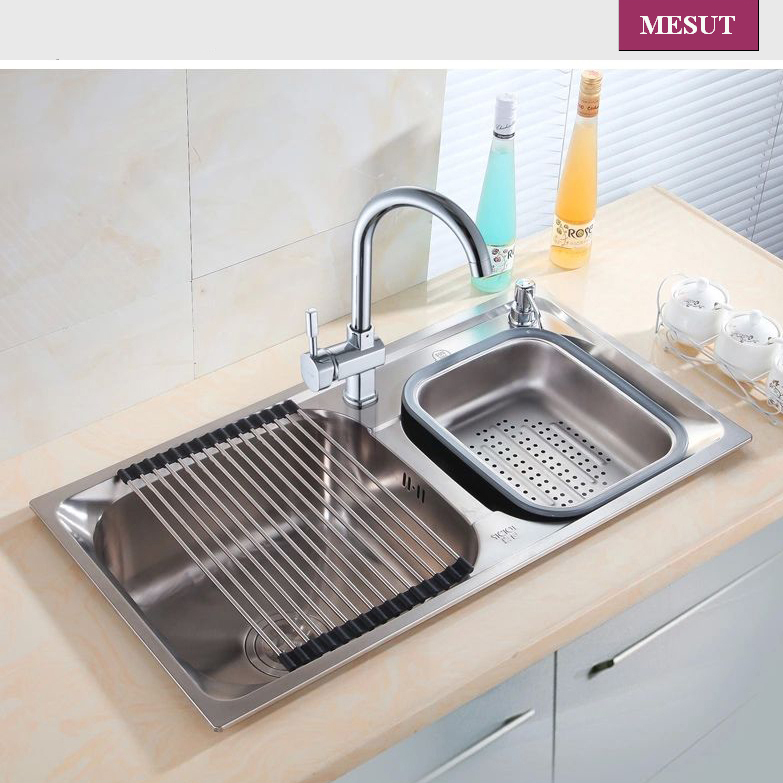 stainless steel brushed thicken double kitchen sink with faucet more sizes accessories complete size 72 - Kitchen Sink Double