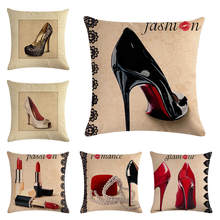 chair cushion Women's world - new high heels HomerDecor Cushion Cover Throw Pillowcase Pillow Covers 45 * 45cm Sofa Seat Cush(China)