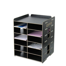 Creative office supplies Wooden file rack file holder Desktop A5 document frame multilayer information storage box(China)
