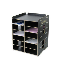 Creative office supplies Wooden file rack file holder Desktop A5 document frame multilayer information storage box