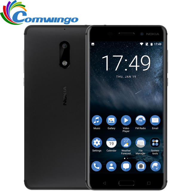 2017 nueva llegada original nokia 6 4g ram 64g rom android 7.0 Octa Core Dual Sim 5.5 ''Huella Digital 3000 mAh 4G LTE Móvil teléfono