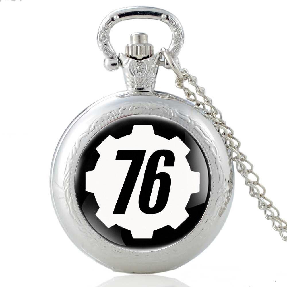 Classic Silver Fallout 76 Electronic Games Quartz Pocket Watch Vintage Men Women Pendant Necklace Clock