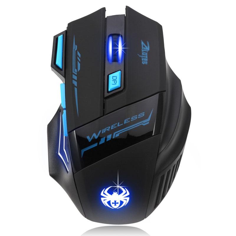 ZELOTES 2018 Nuovo Regolabile 2400 DPI Wireless Optical Mouse Gamer Mouse computer mouse Gaming Mouse Per PC Laptop trasporto di Goccia