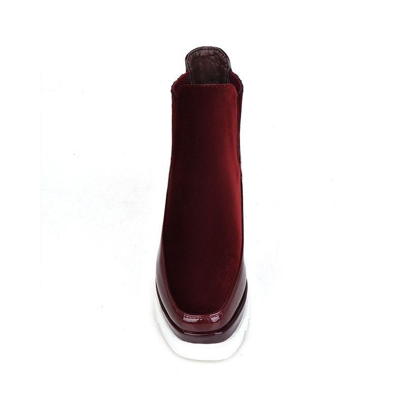 3eb99f419e31d1 Verni Red wine Confort Cheville Doublure Red Haut Patchwork Coin Bottes  Talon En Femmes Cuir Faux Suede Chaussures ...