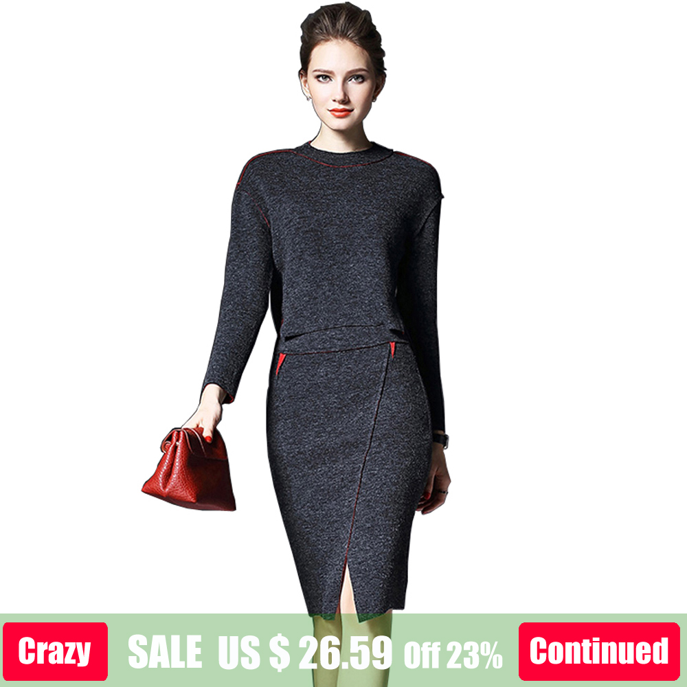Ladies Casual Knitted Suit 2018 New Spring Fashion Women 2 Piece Set Round  Neck Sweater Tops Sheath Split Dress Knit 2 Piece Set f6fc149264d2