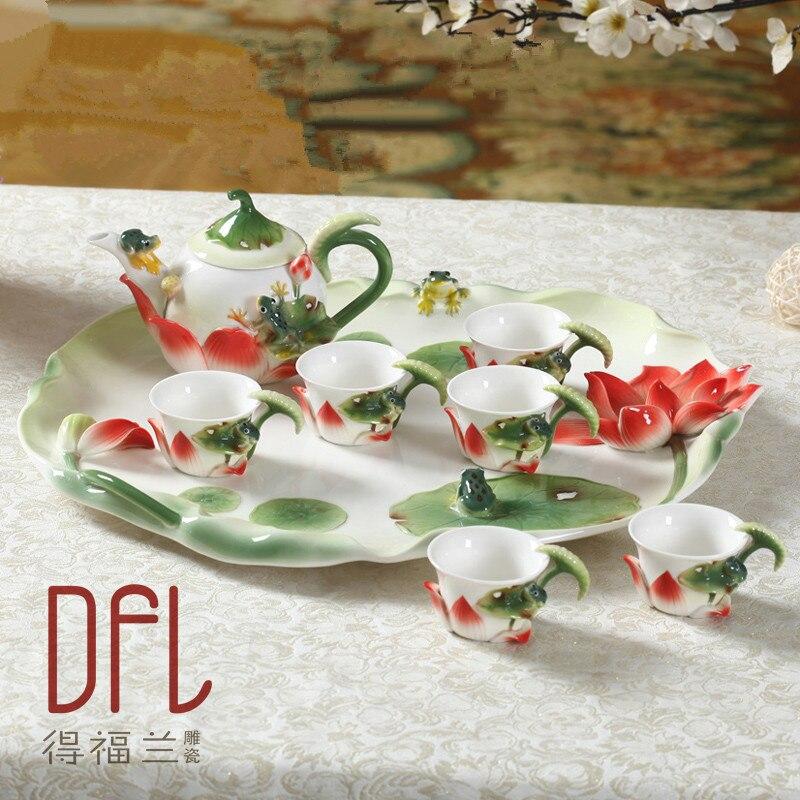 Фарфоровый чайный сервиз Кунг фу из эмали, 8 шт., высококачественный керамический чайный сервиз, европейские чайные кофейные кружки с поднос