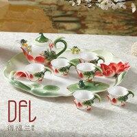 8PCS Chinese Kung Fu Enamel Porcelain Coffee Set Tea Set High grade Ceramic Tea Pot European Tea Coffee Mugs With Tray
