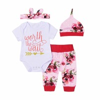 Mikrdoo Lovely Infant Baby Girls Clothes Worth The Wait Funny Letters Printed Romper Floral Pants Hat