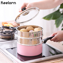 Keelorn 16CM 18CM 20CM 304 Stainless Steel Thickening Double Ear Steamer Multi-layer Kitchen Tools