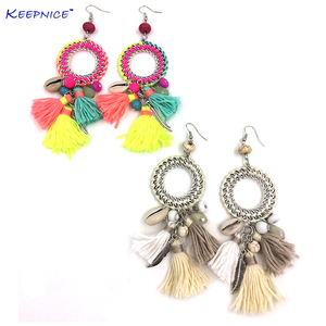 New Ethnic Bohemian Dangle Earrings With Cotton Tassel Colorful Summer Style Dream Catcher Earrings(China)