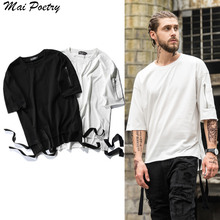 2017 Mai Poetry New summer Men Hipster Hip Hop  Side sleeve pocket zipper  T shirt Fashion Longline Ribbon design T-SHIRT TEE