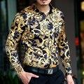 Горячая 2015 осенью новый мужской одежды свободного покроя марка шелковый с длинными рукавами рубашки тонкий леопардовым принтом рубашки певец ночного клуба костюмов