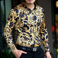 Hot 2015 otoño nueva ropa hombre seda de la marca informal camisa de manga larga estampado de leopardo delgado camisas de vestir cantante trajes del club nocturno