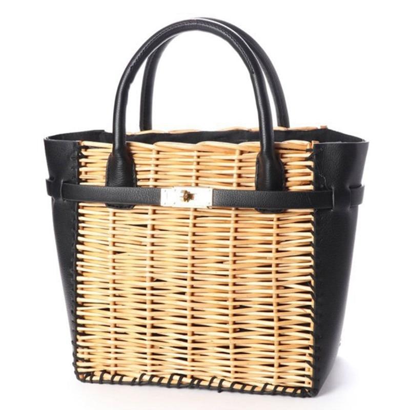 New Black Pu Straw Bag Natural Rattan Shoulder Bag Beach Handbags Weaving Handmade Crossbody Bag