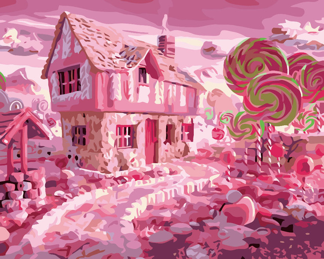 HQ Sweet House Candy city lollipop Living room decor Oil Paint ...