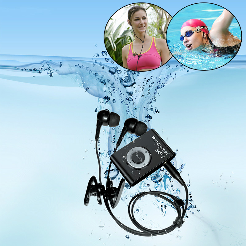 Mini Wasserdicht Schwimmen <font><b>MP3</b></font> Sport Läuft Reiten <font><b>MP3</b></font> Sereo Walkman Musik <font><b>MP3</b></font> <font><b>Player</b></font> Mit FM Radio Hallo-fi Clip image