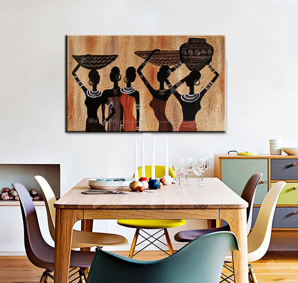MUYA Dekorative Leinwand Malerei Afrikanische Frau Malerei Günstige Moderne  Gemälde Weiblicher Akt Gemälde Für Wohnzimmer Wand Dekor
