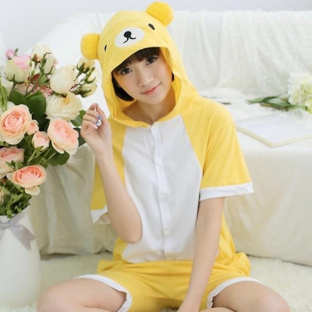 3624da7db920 Cute Yellow Bear Adult Short Sleeve Animal Pajamas Spring Summer Unisex  Cosplay Pijamas Cartoon Cotton Onesies men women Pajama