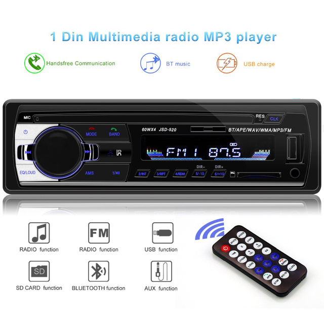 Bluetooth V2.0 JSD-520 oto teypleri auto Estéreo Autoradio 1 12 V In-dash 1din rádio do carro Din FM Aux SD USB MP3 áudio Do Carro Do Jogador