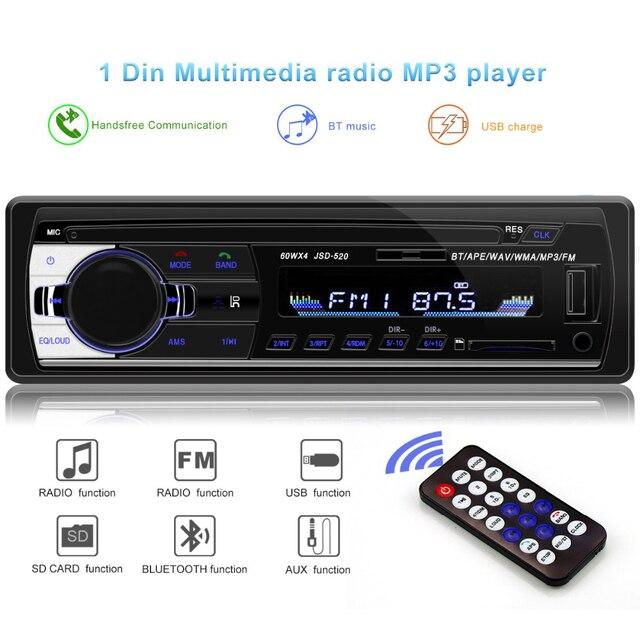 Bluetooth V2.0 JSD-520 oto teypleri auto Stereo Autoradio car radio 1din 12V  In-dash 1 Din FM Aux SD USB MP3 Car audio Player