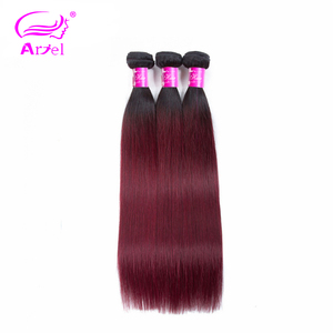 Image 4 - アリエルオンブル髪織り 3 バンドルと閉鎖 1B/99Jブルゴーニュワイン赤オンブルインドnonremyストレート人間の髪のバンドル