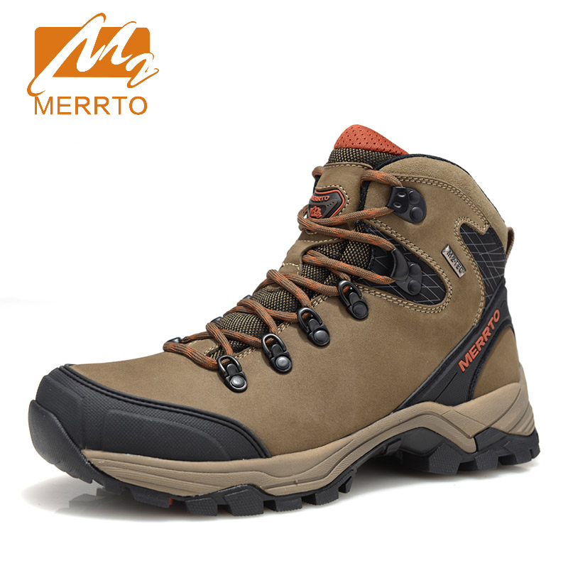 Merrto Waterproof Hiking Boots Genuine Leather Waterproof Hiking Shoes Outdoor Breathable Men Winter Boots For Walking Trekking merrto men s waterproof outdoor shoes mountain breathable genuine leather hiking shoes anti skid cowhide damping walking shoes