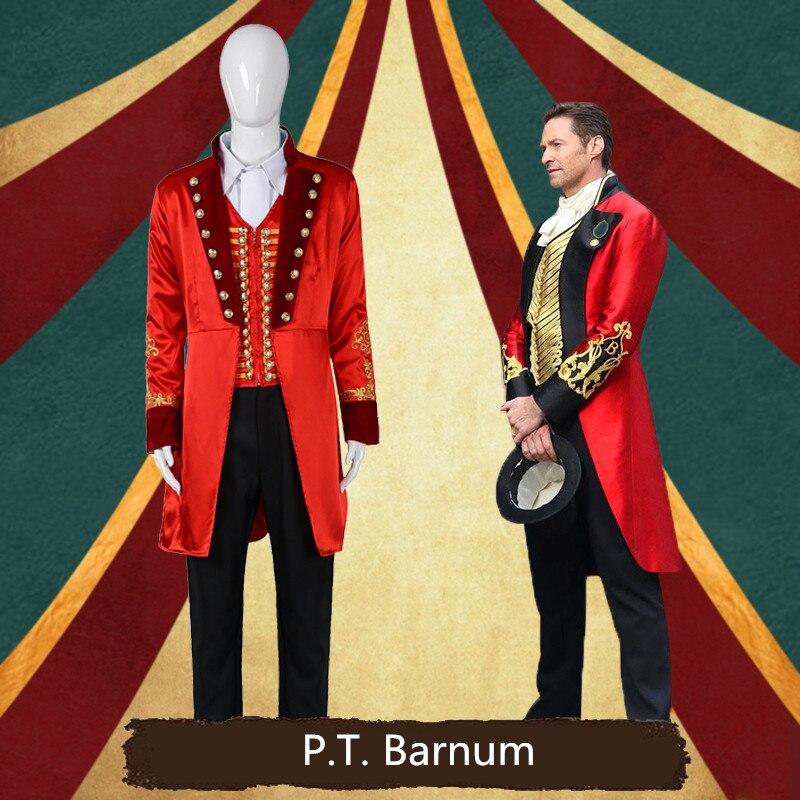 Dos homens do dia das bruxas O Maior Showman P.T. Barnum traje dramatização Palco P.T. Homens vermelhos se adapta a qualquer tamanho de Barnum