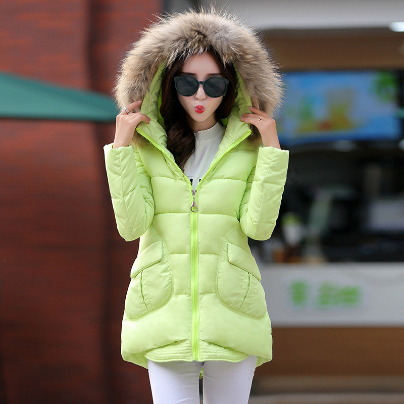 Pop Winter Women Wadded Jacket Coat Slim Long Sections Cotton Padded Thick Jacket Female Fur Collar Hooded Womens Parka TT241 winter 2017 thickening women parka women s fur collar coat wadded jacket female outerwear fashion cotton padded jacket long coat