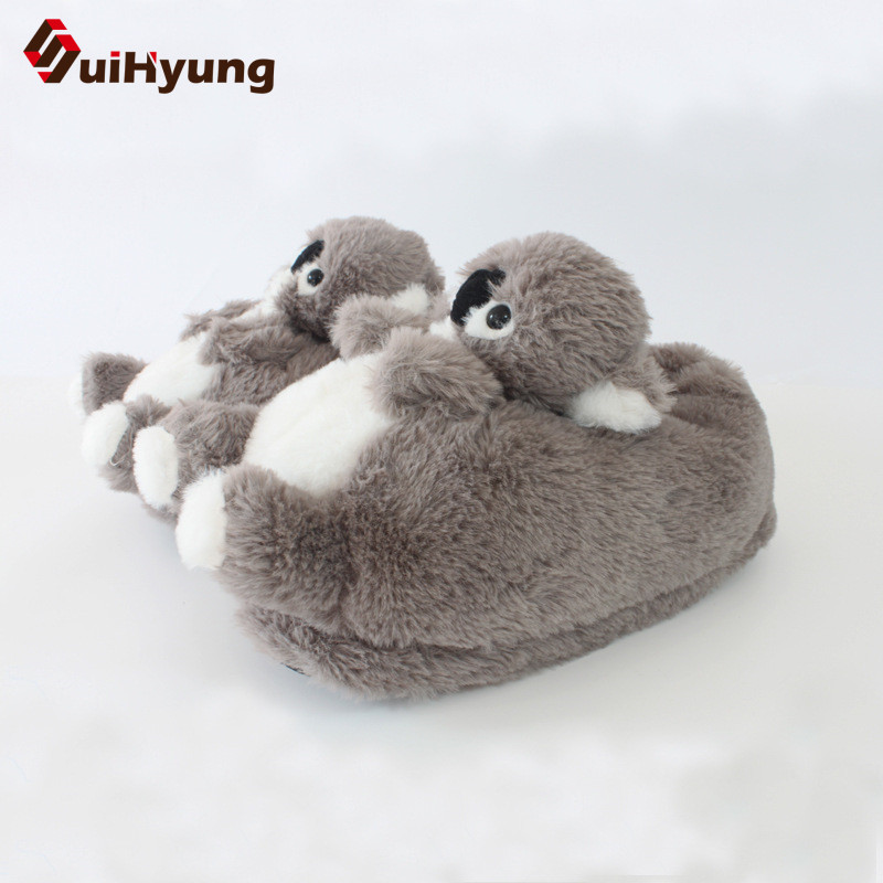 цена на Suihyung Winter Warm Female Male Indoor Cotton Shoes Funny Koala Interior Plush Mute Home Slippers Bedroom Floor Women's Shoes