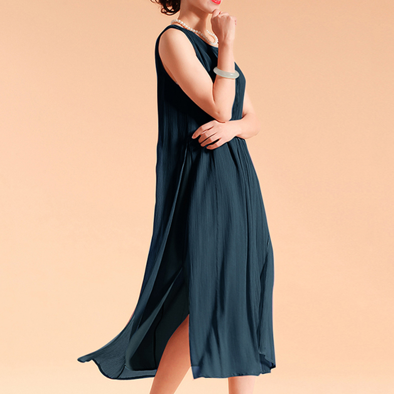 EaseHut Women Sleeveless Summer Dress 2019 Boho Beach Casual Ruched Slit Lined Midi Linen Dress S-5XL Plus Size Dresses elbise 3