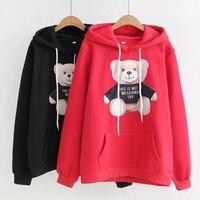 Plus Size Cartoon Bear Black Applique Hoodies Women Sweatshirt Cotton XXXL Pockets 2017 New Fashion Ladies