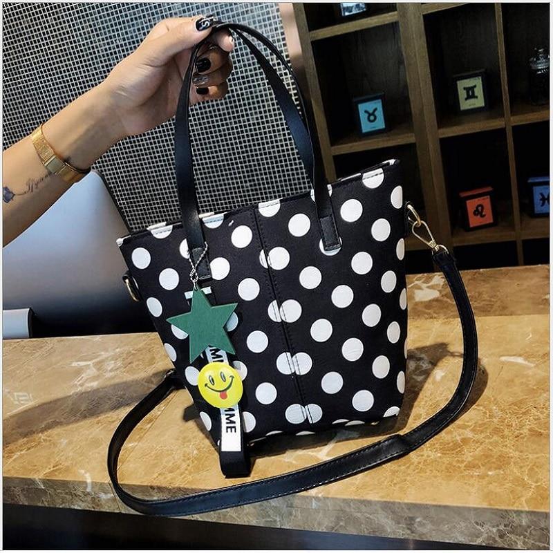 Woman Canvas Wave Point Portable Shoulder Large Black And White Color Bucket Handbag