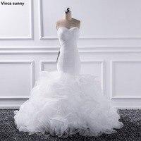 Vinca Sunny 2017 Mermaid Sweetheart Wedding Dresses Vestido De Noiva Sheer Lace Up Bride Tull Ruffles