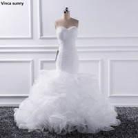 Vinca Sunny 2017 Mermaid Sweetheart Wedding Dresses Vestido De Noiva Sheer Lace Up Bride Tull Ruffles