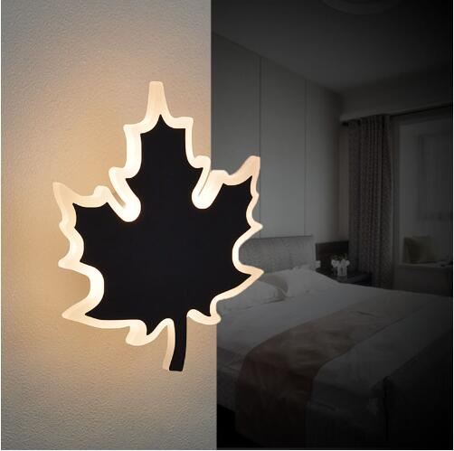 ФОТО Leaf LED Wall Lamps Sconces Reading Lights Fixture Decorative Night Light for Pathway Staircase Bedroom Bedside Lamp fixtures