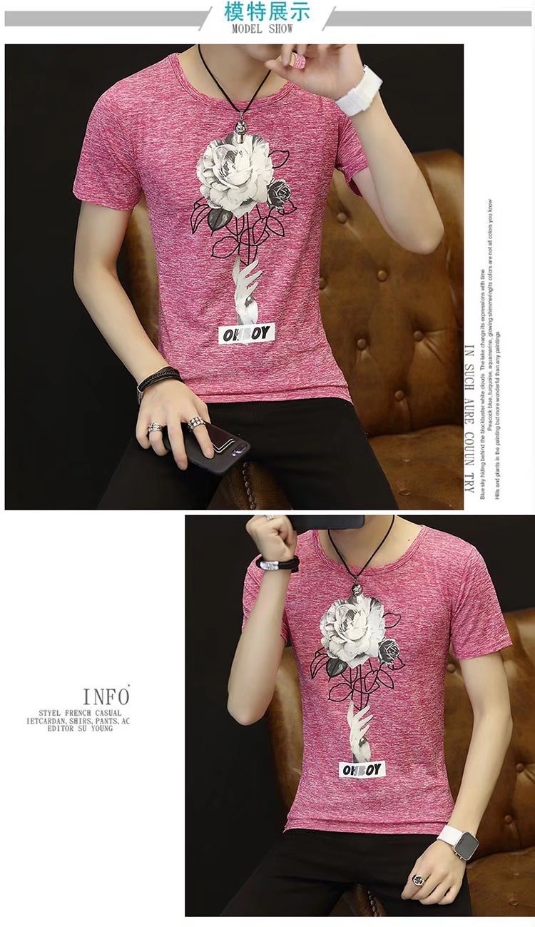 Spring 100% Cotton Casual Short Sleeve Rose Printing Men T Shirt O-neck Knitted Comfortable Fabric Street Style Men T-shirt 45