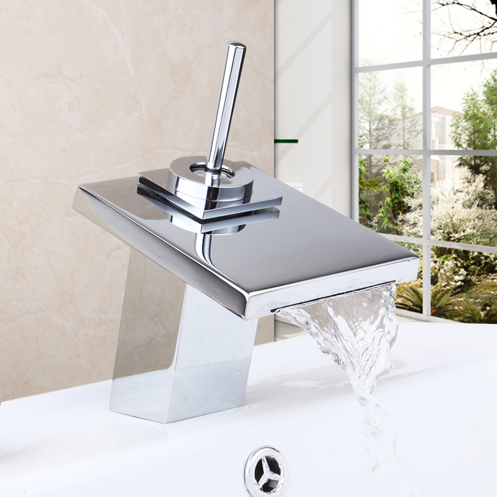 Contemporary Superior Quality Waterfall Basin Faucet Chrome Polished Single Handle Hot Cold Water Excellent Pretty Basin Faucet torayvino superior quality bathroom faucet chrome polished wall mounted hot cold water mixer excellent pretty shower faucet