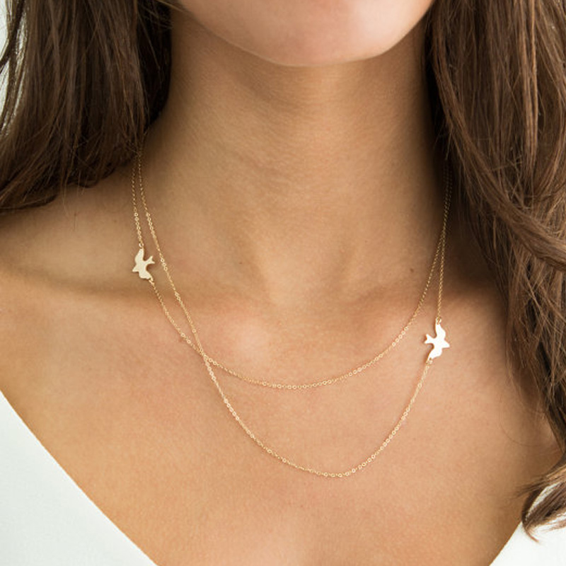 Layered Simple Birds Necklace Clavicle Chains Charm Womens Fashion Jewelry XL106