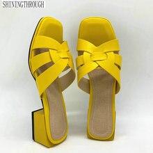 2020 Nieuwe Vrouwen Slippers Pu Leer 4.2Cm Vierkante Hakken Slipper Open Teen Vrouwen Sandalen Roze Blauw Geel Dames Casual schoenen Vrouw