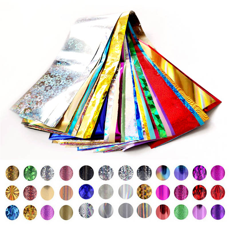 50PCS Mix Color Nail Foils Beauty Nails Foil Polish Set Nail Wraps Mixing Color Transfer Foil for Nail Design ZJ1163 dn2 39 mix 2 3mm solvent resistant neon diamond shape glitter for nail polish acrylic polish and diy supplies1pack 50g