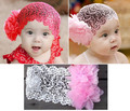 Baby Girls Toddlers Newborn Photography Props Kids Infant Lace Flower Bebe Headband Hairnet Hairband Hair Accessories Bow