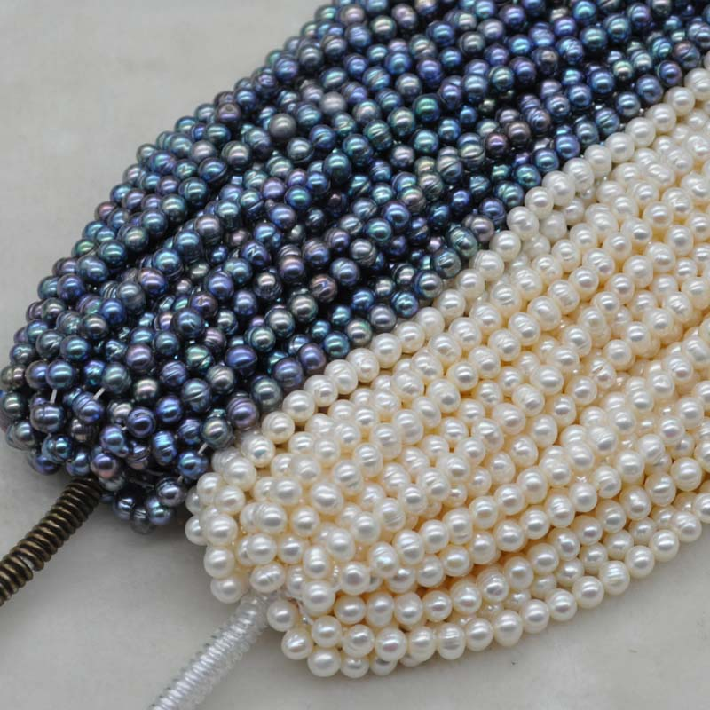 wholesale 10 strands 6 7mm real pearl strings white or peacock black Q30344