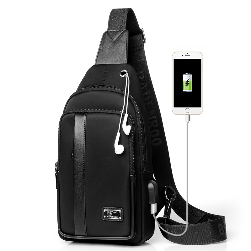 Kangaroo Luxury Brand Chest Pack Men Shoulder Crossbody Bag USB Charging Oxford Travel Sling Messenger Male