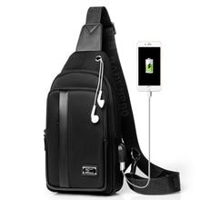 Kangaroo Luxury Brand Chest Pack Men Shoulder Crossbody Bag USB Charging Oxford Travel Sling Messenger Male