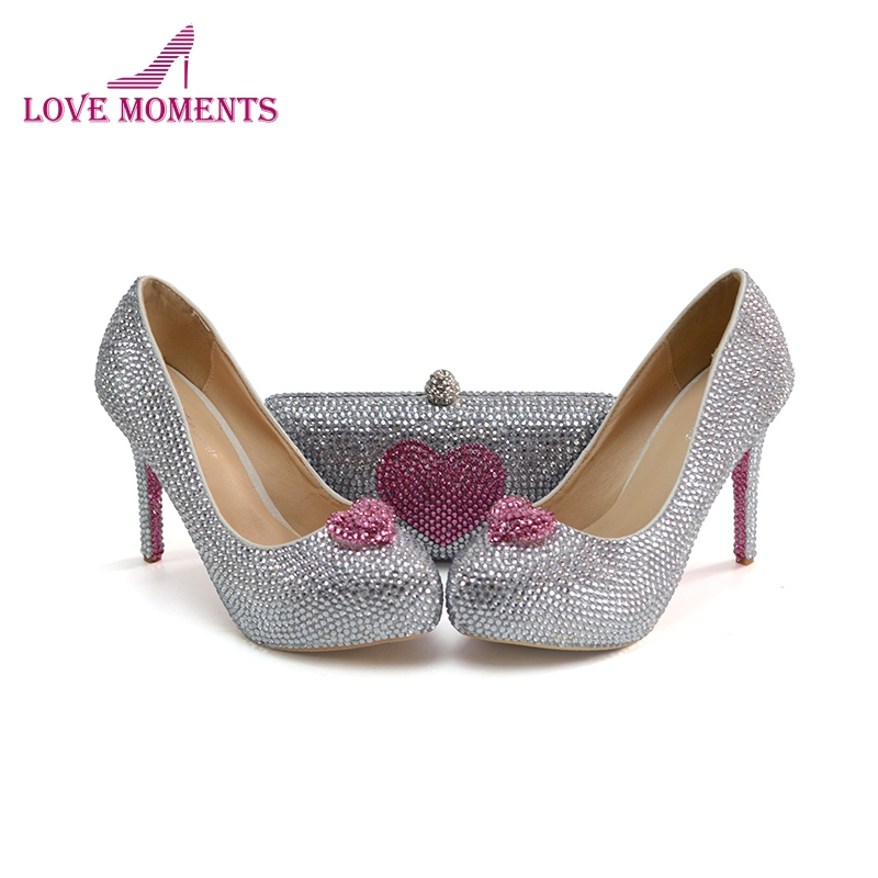 2018 Custom Made Silver Crystal Cinderella Prom Party Shoes with Clutch Pink Rhinestone Wedding Party High Heels with Purse free shipping sparkly silver crystal and rhinestone high heels with spikes ultra high heels shoes for wedding party prom