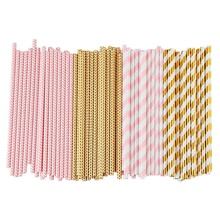 LBER Биоразлагаемые бумажные соломки, 100 розовые вечерние украшения для дня рождения, свадьбы, свадьбы/детского праздника Ce
