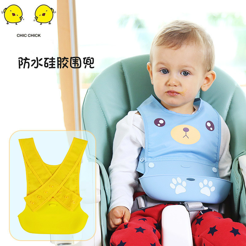 Cartoon Newborn Baby Bibs Silicone Waterproof Feeding Bib Boy Girl Bavoir