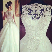 New Model Elegant Scoop A Line Organza Wedding Dress Bridal Gowns With Beading And Bow ZH0269