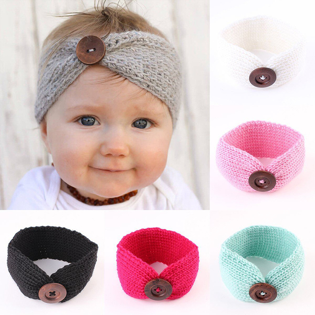 Zoete Pasgeboren Baby Tulband Ear Warmer Hoofdband Haak Gebreide