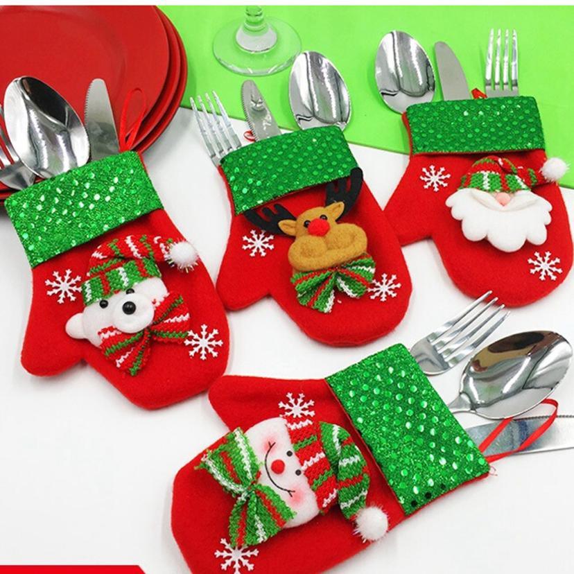 Christmas Xmas Decor Santa Snowman Kitchen Tableware Holder Pocket Dinner Cutlery Bag *n ...